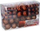 Kerstballen set - 3 tot 6 cm - Brons - 100 stuks - Kunststof
