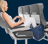 Fly Legsup - Vliegtuigbedje voor volwassenen - Vliegtuigbedje - 2 hoogtestanden - Reiskussen - Slapen in het vliegtuig - Voetensteun - Opblaasbaar - Grijs