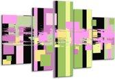 Glasschilderij Art   Groen, Zwart, Paars   170x100cm 5Luik   Foto print op Glas    F005576