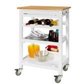 Keukenwagen met zwenkwielen en flessenrek | Gratis snijplank inbegrepen