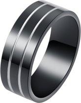 Zilverkleurig gestreepte zwarte stalen ring-18mm
