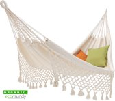 Luxe hangmat met geknoopte franje - BIO katoen - Naturel wit - Ecomundy Romance L (130x200x320cm)