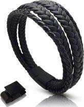 Leren armband heren Galeara TRO bruin met magnetische sluiting 21,5cm - 22,5cm