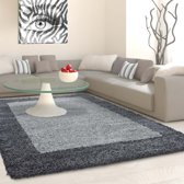 Hoogpolig vloerkleed Life Shaggy Grijs lijstmotief 1503 160x230 cm Grijs