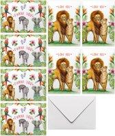 Kaartenset love & thanks - 10 stuks - 5 bedankkaarten - 5 liefdeskaarten - A6 - Gevouwen wenskaarten met envelop - Papegaai - Zebra - Olifant - Leeuwen - Schilderingen in aquarel door Mies to Go