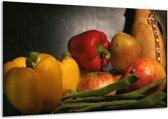 Canvas schilderij Paprika | Geel, Rood, Grijs | 120x70cm 1Luik