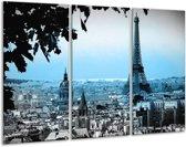 Glas schilderij Parijs, Eiffeltoren | Grijs, Blauw | 120x80cm 3Luik | Foto print op Glas |  F007260