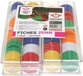 CHIPS 240 PCS 6 COLOURS IN TRANSPARANT CASE - 25 MM