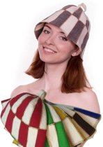 """saunamuts """"cage"""" tweekleur GROEN/WIT A-227 sauna vilten hoed"""