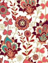 Classic Purple Pink Gold Green Flower Fabric Background Composition Book
