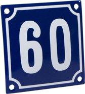 Emaille huisnummer blauw/wit nr. 60 10x10cm