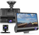 DrPhone DASH2 - DashCam Video CarDVR – Nachtzicht -  3 Lens HD Camera & Video – 5 Mega Pixels – G-Sensor – 4inch HD Display – Achteraanzicht - HD Opneem Functie