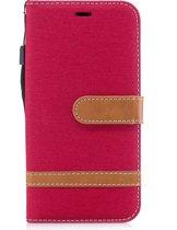 Mobigear Wallet Book Case Denim Rood voor Apple iPhone X / Xs