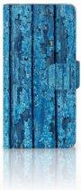 Motorola Moto X4 Uniek Boekhoesje Wood Blue