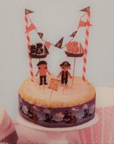 taartversiering Piraat cake toppers cocktailprikkers met taartrand en vlaggetjes