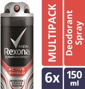 Rexona Men Active Shield - 6 x 150 ml - Deodorant Spray - Voordeelverpakking