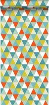 krijtverf vliesbehang driehoekjes oranje, mint en olijf groen - 128708 van ESTAhome.nl