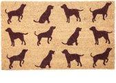 Deurmat - Hond / Honden silhouet - Kokos - 75 x 45 cm