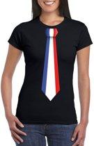 Zwart t-shirt met Frankrijk vlag stropdas dames 2XL