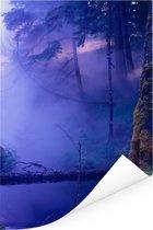 Mist boven de Canadese archipel Haida Gwaii Poster 80x120 cm - Foto print op Poster (wanddecoratie woonkamer / slaapkamer)
