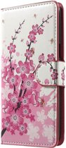 OnePlus 5 hoesje - Book Wallet Case - Pink Blossom