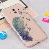 Let op type!! Voor Huawei Mate 10 Pro IMD blauwe vogels veren patroon duidelijk TPU beschermende terug softcase