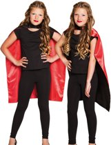 Zwarte en rode cape voor kinderen - Verkleedattribuut