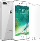 iPhone 7 Plus / 8 Plus Transparant Ultra Dunne TPU Siliconen case Hoesje + Tempered Glass Screen Protector