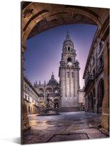 Nachtfoto van de kathedraal van Santiago de Compostella Aluminium 80x120 cm - Foto print op Aluminium (metaal wanddecoratie)