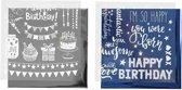 Deco folie en transfervel vel 15x15 cm donkerblauw zilver verjaardag 2x2vellen