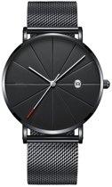 Chicago Black Mesh Horloge | Staal | Zwart / Zwart | Ø 40 mm