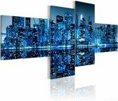 Schilderij - New York City - Skyscrapers in het Blauw, 4luik