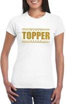 Topper t-shirt wit met gouden glitters dames 2XL