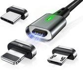 Elough® - 3 in 1 - magnetische oplaad/data kabel - USB-C/Lightning/USB Micro\\\\\
