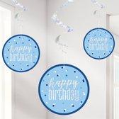 Swirls Happy Birthday Blauw Iridescent - 6 stuks