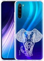 Xiaomi Redmi Note 8 Hoesje Elephant Mandala White