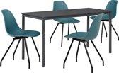 Eetkamerset Ede - tafel grijs 140x60cm + 4 stoelen turquoise