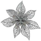 1x Kerstboomversiering op clip champagne glitter bloem 23 cm - champagne kerstversieringen