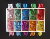Mini wasknijpers - Hout - 2,5cm - 200 stuks - 10 kleuren - In houten box
