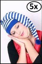 5x Slaapmuts blauw/wit