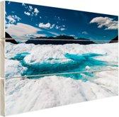 Gletsjer met meer Hout 160x120 cm - Foto print op Hout (Wanddecoratie) XXL / Groot formaat!