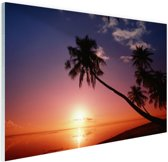 Silhouet van palmbomen bij zonsondergang Glas 120x80 cm - Foto print op Glas (Plexiglas wanddecoratie)