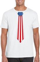 Wit t-shirt met Amerikaanse vlag stropdas heren - Amerika supporter L