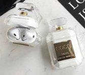 Trendy Case geschikt voor Apple Airpods| Parfum Style hoesje| Doorzichtig siliconen hoesje met goud en met kralen hanger |cadeau tip!