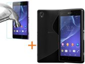 Comutter Silicone hoesje Sony Xperia Z2 zwart met tempered glas