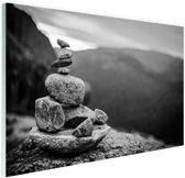 Balancerende stenen in Noorwegen Glas 60x40 cm - Foto print op Glas (Plexiglas wanddecoratie)