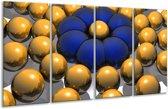 Glasschilderij Modern   Goud, Blauw, Grijs   160x80cm 4Luik   Foto print op Glas    F004365