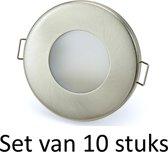 3W GU10 badkamer inbouwspot Zilver mat rond | Koel wit |Set van 10 stuks