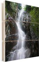 Waterval in het Nationaal park Henri Pittier in Venezuela Vurenhout met planken 30x40 cm - klein - Foto print op Hout (Wanddecoratie)