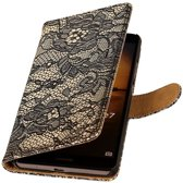 Microsoft Microsoft Lumia 535 Zwart | Lace bookstyle / book case/ wallet case Hoes  | WN™